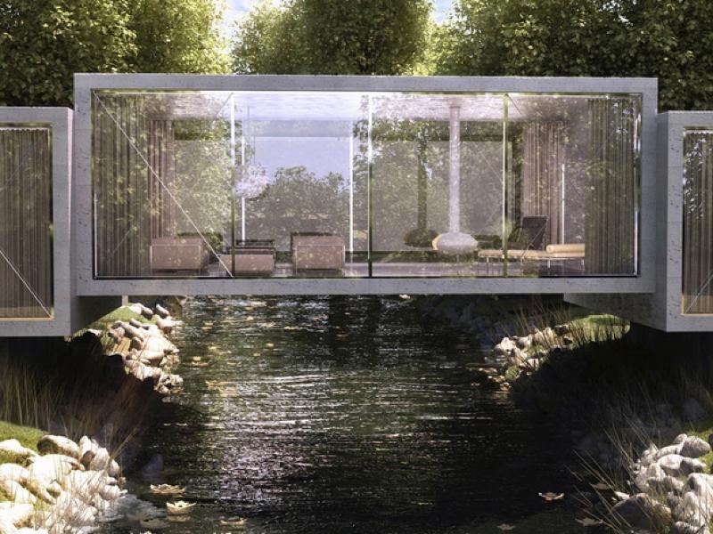 川をまたぐ家「Bridge House」