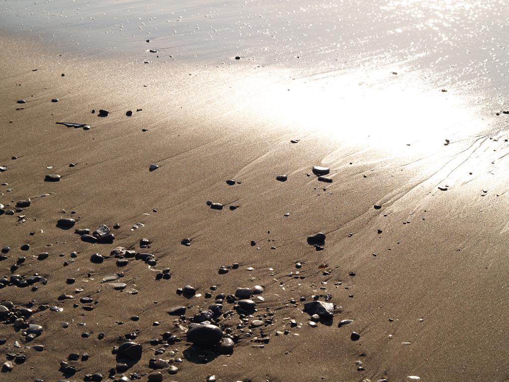 波に光る砂浜