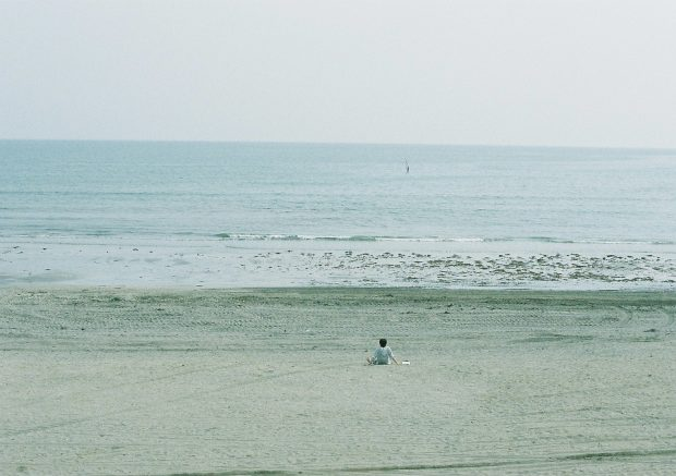 広い海をひとり占めしている人が。うらやましい。