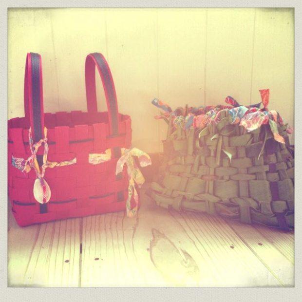 彼女が作った島に生えている月桃の葉で作ったバッグ。相変わらずセンス抜群です。