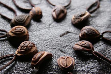 ▲アボカドの種から作るネックレス