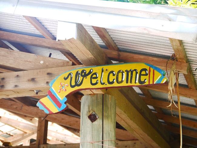 加計呂麻島の民宿にあるWelcomeの看板。