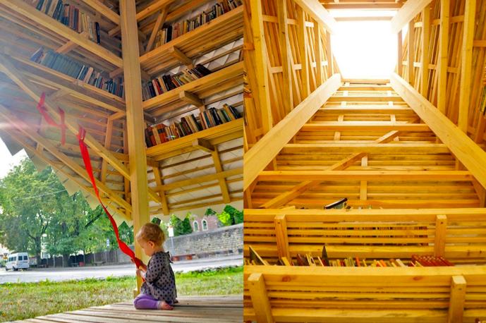 学生が築いた、リサイクル資材が導く地域の繋がり「Story Tower」