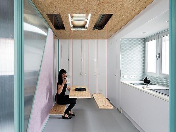 ロフト1つ分のスペースの使い方が近未来的すぎる!「Tiny Modern Madrid Loft By Elii」