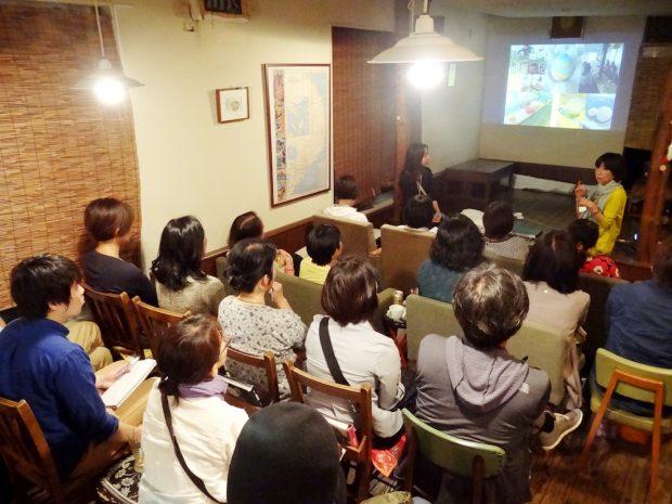 ソンベカフェで行われたIDEA R LAB 大月ヒロ子さんとパタゴニア日本支社環境プログラム・ディレクター篠健司さんによるトークイベント。アップサイクルのさまざまな事例が紹介された。