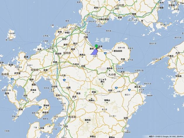 上毛町の場所はこちら。大分県に近い福岡最東端の場所です。