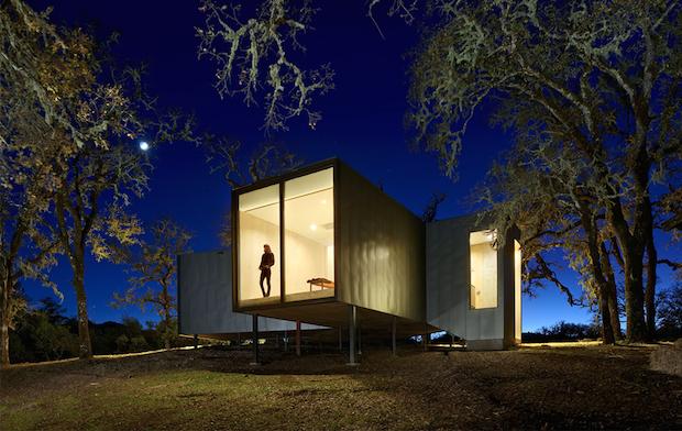 地面から生えるように建つ柱、自然と調和する家 「Moose Road Residence」