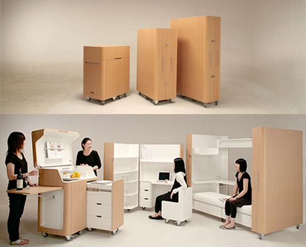 Foldaway furniture yadokari for Muebles multifuncionales ikea