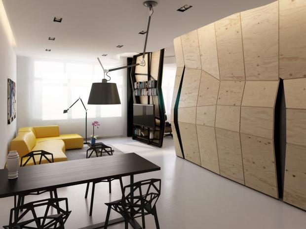 限られたスペースを最大限に生かす、動く壁「Transformer Apartment」