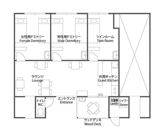 こちらがゲストハウスの設計図。ドミトリーだけではなく、個室やウッドデッキも製作予定です。