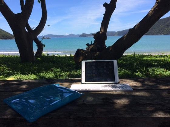 最近導入したのがBluetoothでiPad miniに接続できるキーボード。調べものや短い原稿はこれで充分用が足ります。