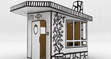 秘密基地の新定番!落書き可能な段ボールのキッズハウス「Villa Julia」