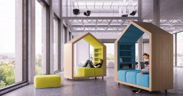 仲間と話して、一人でこもって、多彩な働き方に併せて変化する家型書斎「Break-out furniture」