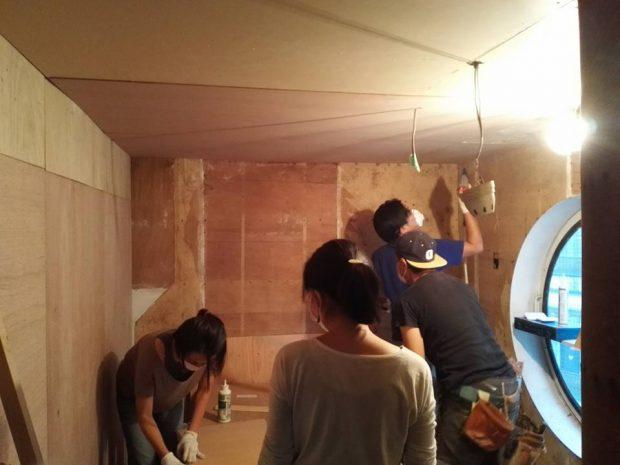 天井、壁の改修が完成間近