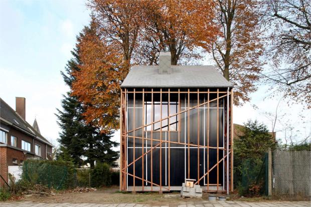 木に寄り添う家、その中には もう一本のコンクリートの木が生えていた? ブナの木ハウス「House Bernheimbeuk」