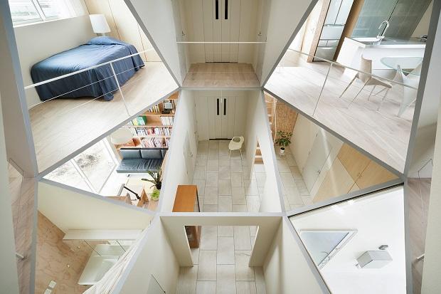 開放的な断面図がとっても楽しい!すべての部屋に吹き抜けがある家「Kame House」
