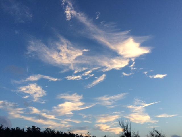 さまざまなものが飛び立つような雲が見えた喜界島の空。
