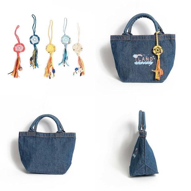 こちらもILAND identityの商品。島在住の女性が加計呂麻島のシェルやサンゴを使って作るドリームキャッチャーをチャームにしたトートバッグ。