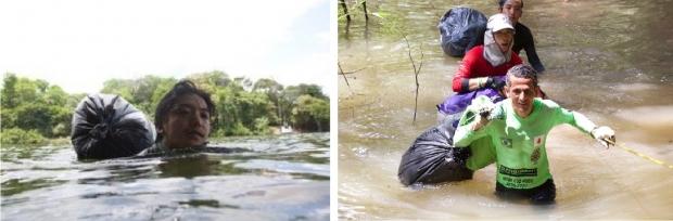 時には荷物をゴミ袋に詰めて深い川を泳ぐことも。