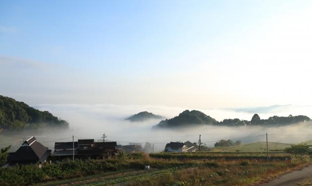 平野部が霧に覆われて神秘的な雰囲気に。上毛町にて、2015年秋。