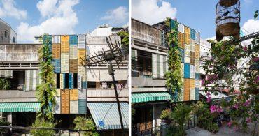 カラフルな格子扉を再利用。ベトナムの可愛いお料理教室「Vegan House」