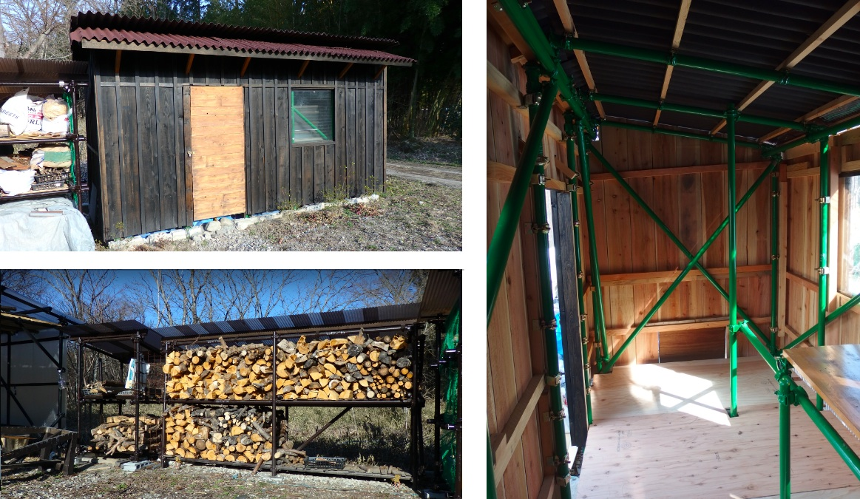 蔵前さん自作の納屋(左上)と薪小屋(左下)、および納屋の内部(右)