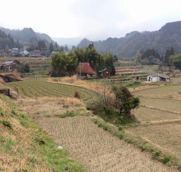 三原さん夫妻が住む集落の景色です。晴れていれば山の向こうに由布岳がどーんと見えます。
