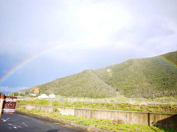 雨上がりの虹は、空と雲と水と太陽のコラボレーション作品。本当はこんな風に全てはつながっていて降り注ぐものなのかもしれません。