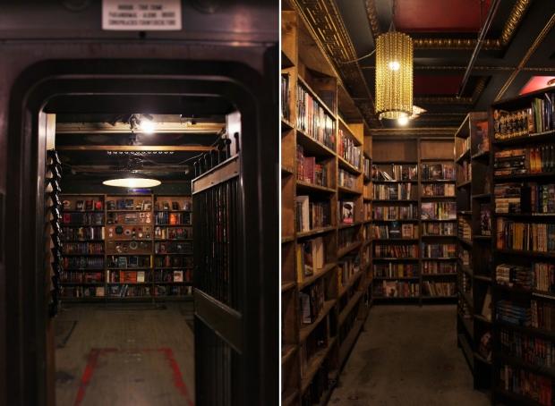 2階の金庫にはホラーが集まっている(左)、ラビリンスの中。古い本棚に古書が並ぶ