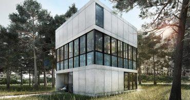 中間階にプールを配置。幾何学的な設計で自然と調和するシンプルな家