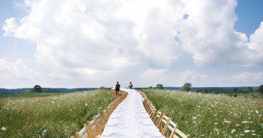 一本の長いテーブルの野外ディナー。「Outstanding in the Field」が示す食のつながり