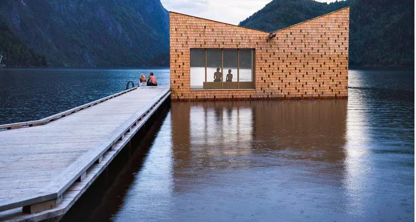 湖に浮かぶ伝説の黄金サウナ 「the golden soria moria sauna」