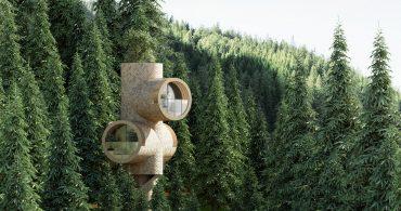 まるで枝木のよう。円柱型のユニークなツリーハウス「Bert」